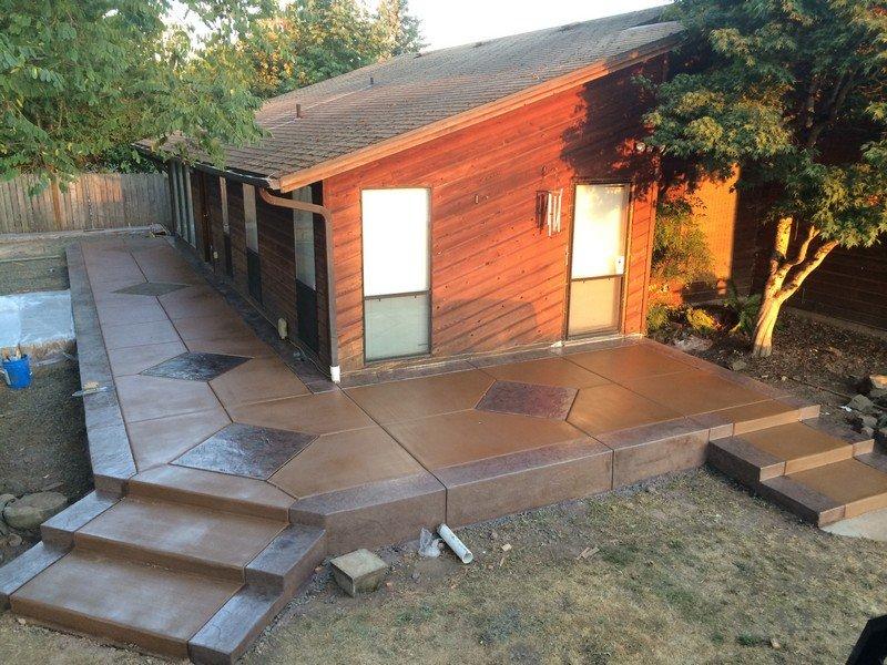 Wraparound concrete porch