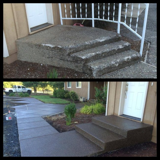 Before and after concrete steps